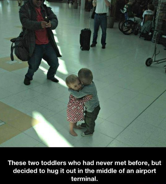 Hugging at the airport