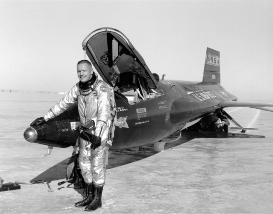 Neil Armstrong beside NASA X-15 Aircraft