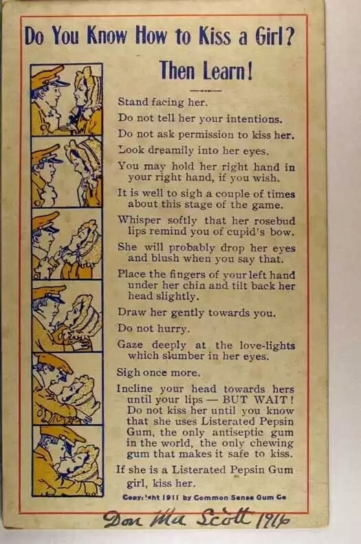 How to kiss a girl (in 1911)